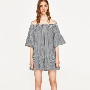 ZARA off the shoulder strip dress